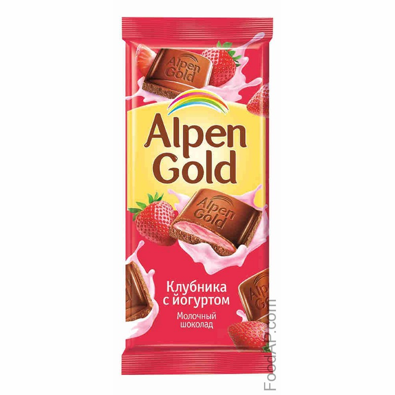 К-Шоколад Алпен Голд, клубника/йогурт, 100г.